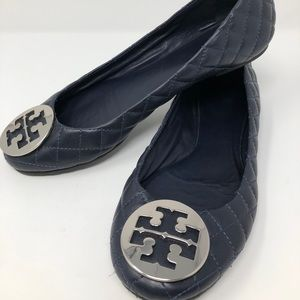 Tory Burch Quilted Blue Minnie Flats, 10M